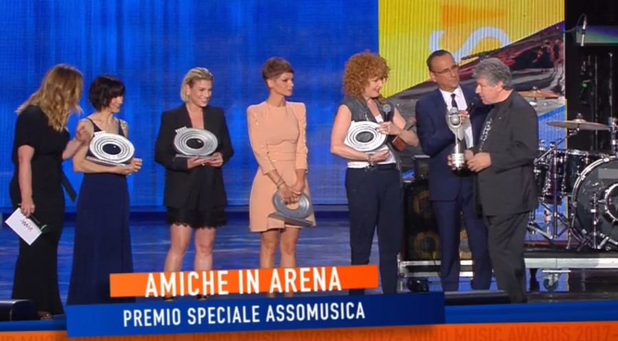 Wind Music Awards 2017: Fiorella Mannoia awarded by Vincenzo Spera on the stage in Arena di Verona